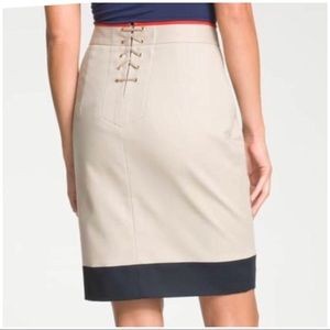 T Tahari Back Placket Lace-Up Pencil Skirt Size 12